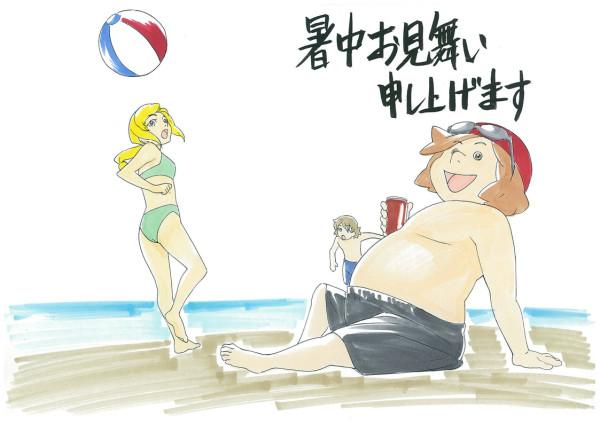 건담 AGE 트위터에 올라온 여름 문안용 그림