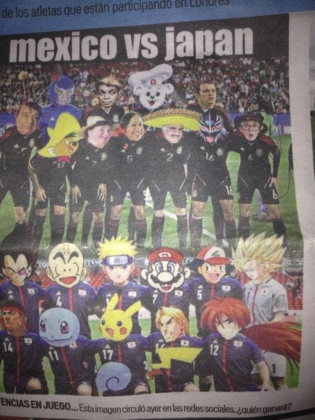 올림픽 축구 멕시코 vs 일본전을 앞두고 멕시코 신문..