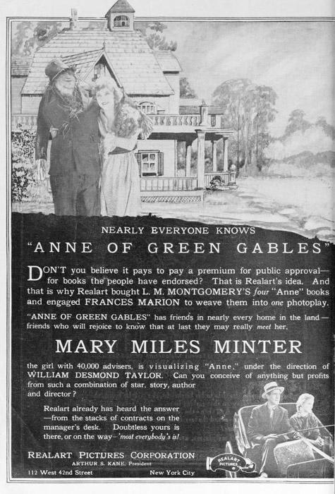 1919년 빨강머리앤 무성영화 지면 광고