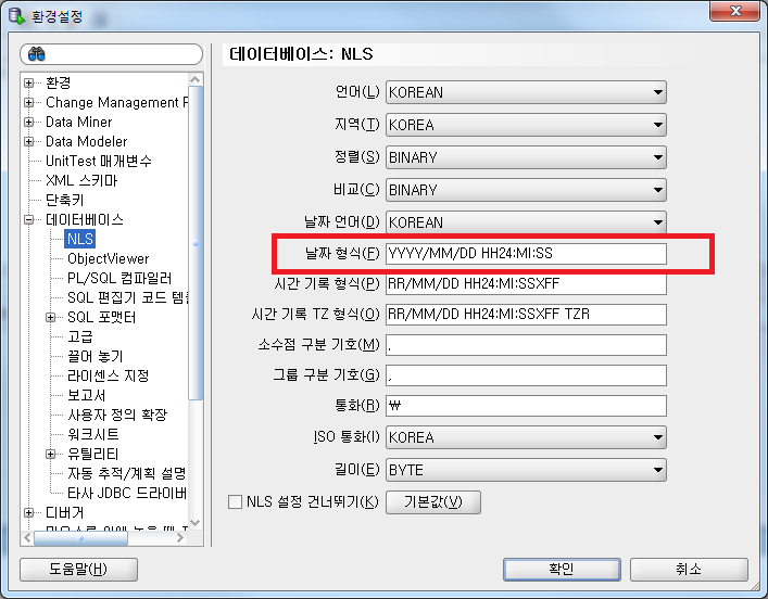 [Oracle - SQL Developer] 표시되는 Date F..