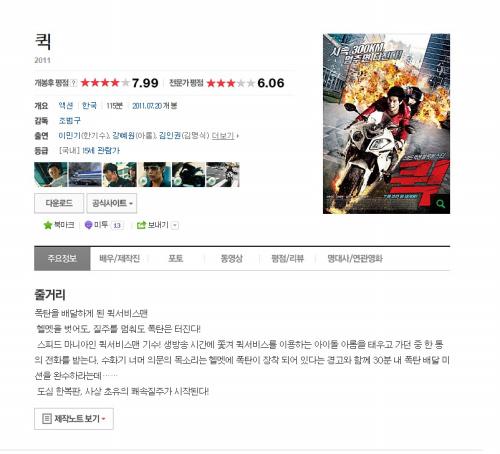 영화 '퀵' 감상 후기 (부제:라이더의 시점에서 보는..