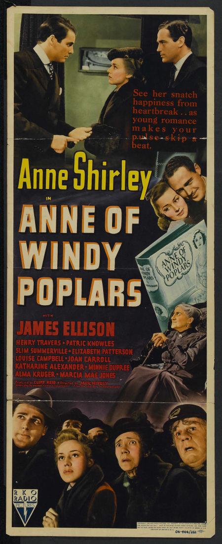 1940년 흑백영화 윈디 포플러의 앤 포스터와 로비 카드