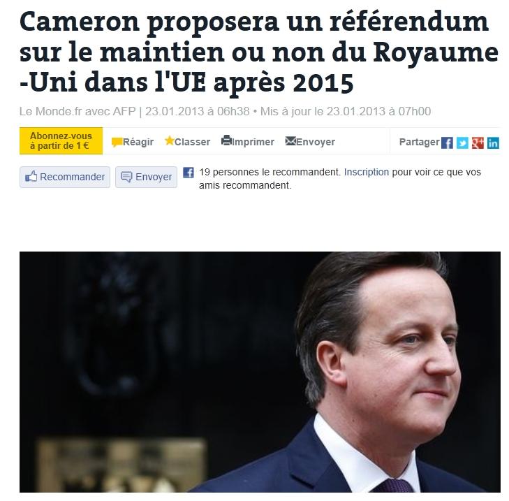 """영국 총리,""""2015년 이후 유럽연합 탈퇴 국민투표 실.."""