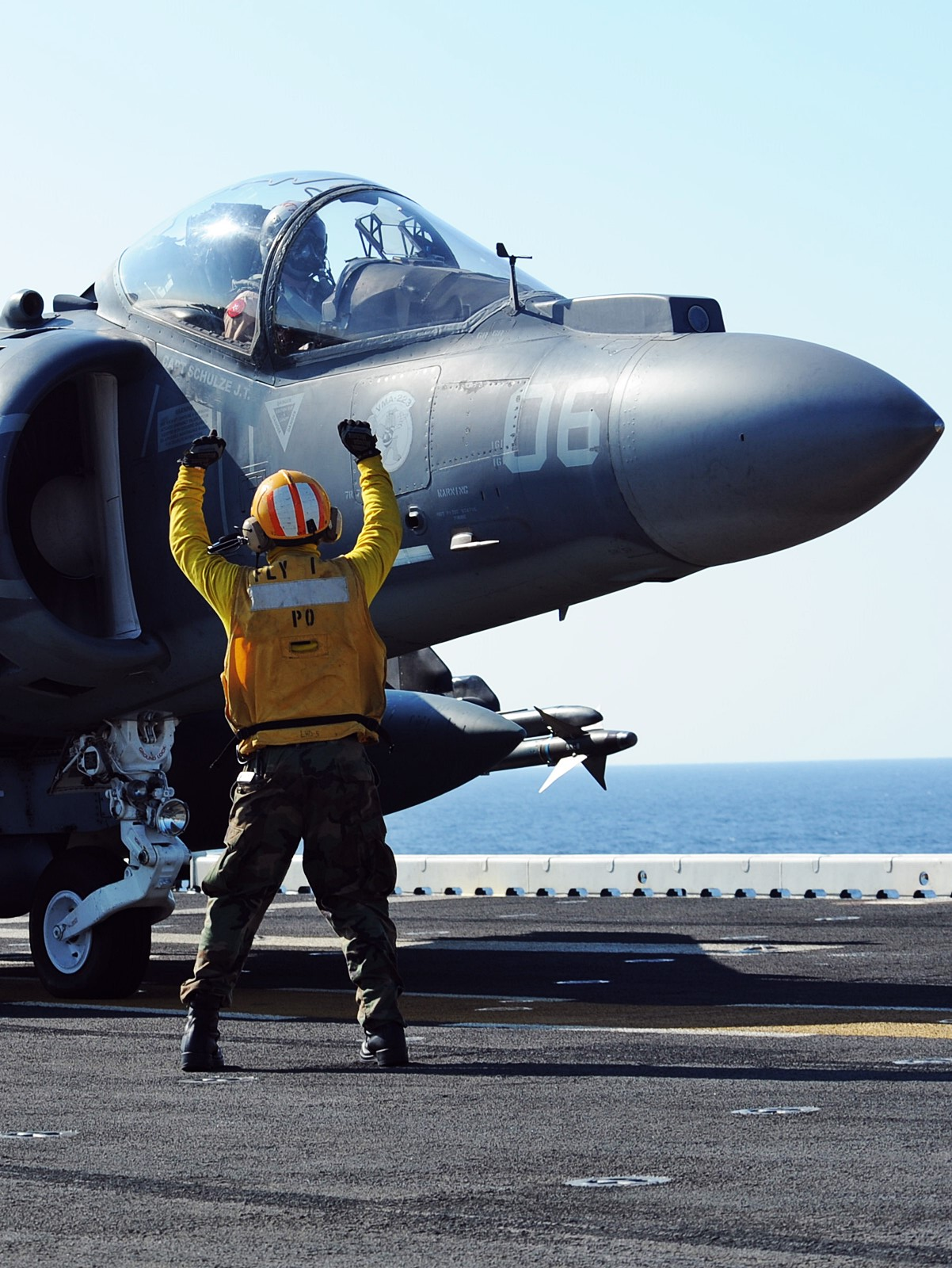 AV-8B Harrier aboard the multipurpose amphib..