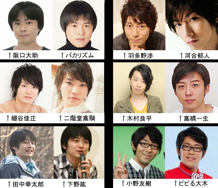 일본의 몇몇 남성 성우들과 닮은 예능인의 사진을 모..