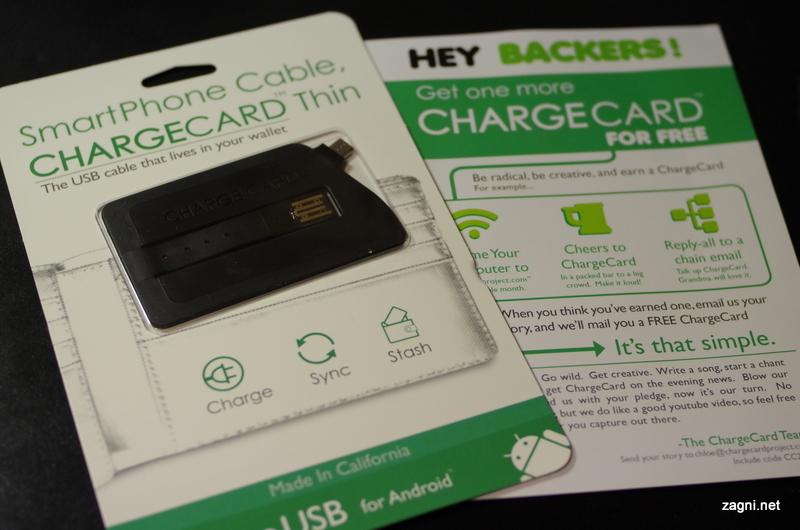 신용카드형 스마트폰 충전 케이블, 차지 카드