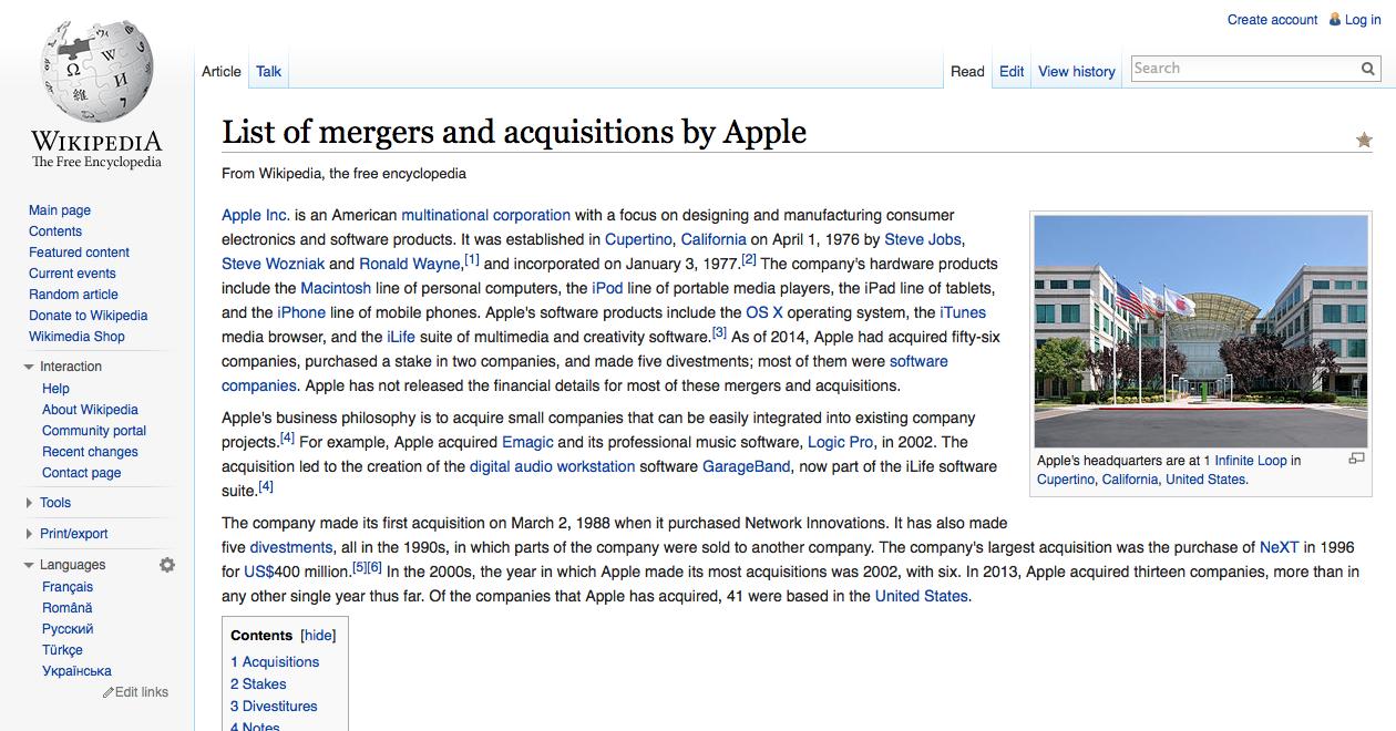 애플이 지난 18개월 동안 인수한 회사는 24개사로 구..