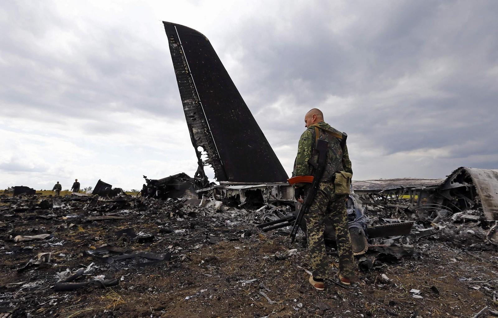 격추당한 우크라이나 공군의 IL-76MD 수송기