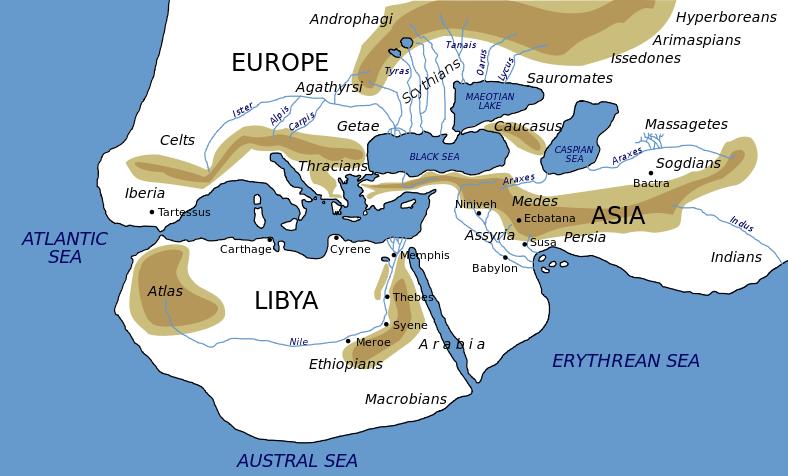 헤로도토스 당시의 지도. 그리고 리비아