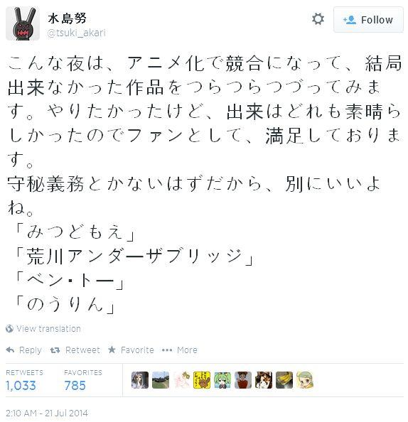 미즈시마 츠토무 감독이 애니메이션화를 담당할 뻔..