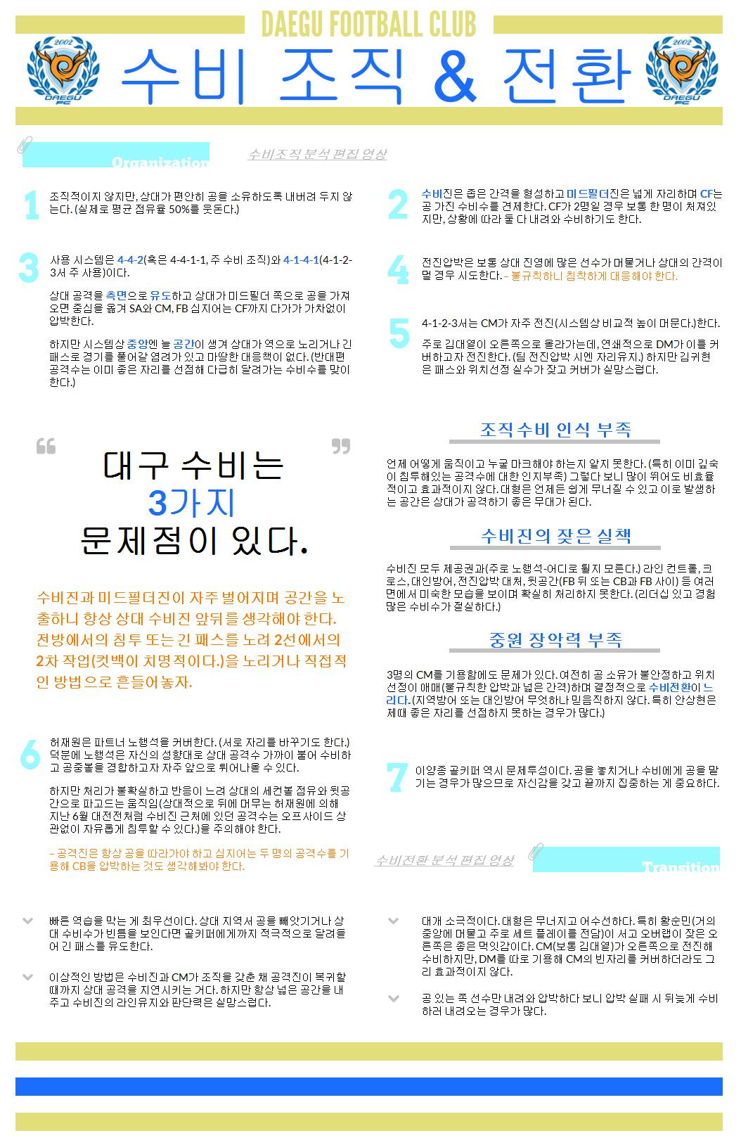 2014 대구 FC 분석 - ③ 수비 조직 & 전환