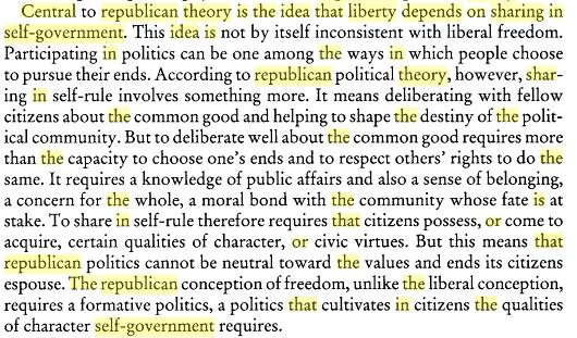 마이클 샌델, 공화주의적 자유란?