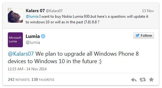 윈도우 폰8 루미아는 모두 윈10으로 업그레이드될 것