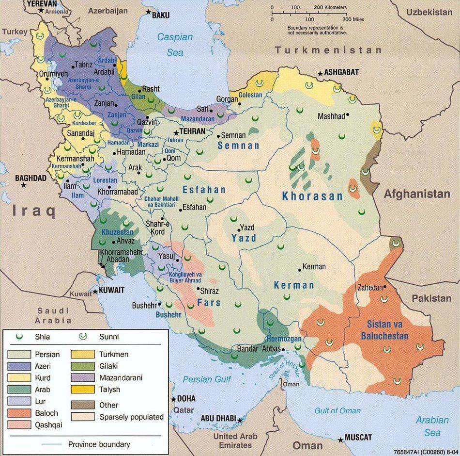 이란의 민족 분포도