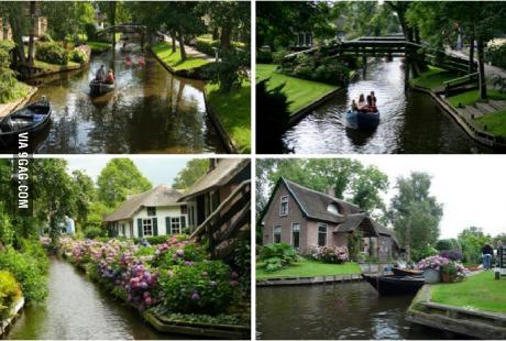 네덜란드의 도로가 없는 한 도시