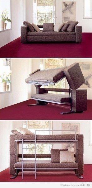 외국에는 2층 침대로 변신(?)할 수 있는 소파도 있는..