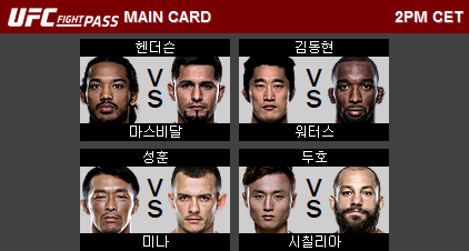 UFC Fight Night 79 in Seoul 대회 대진표