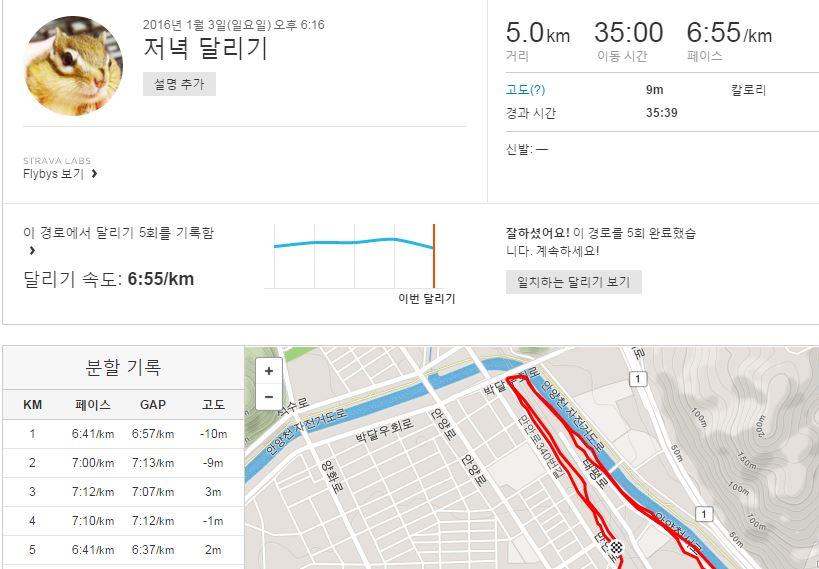 2016년 1월의 달리기(계속)
