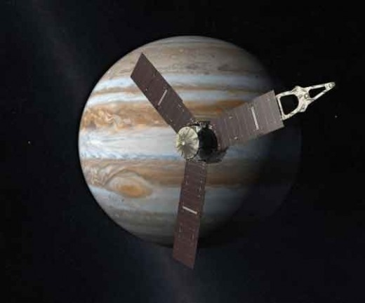 주노(Juno)가 찍은 목성과 4개의 위성들 사진