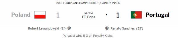 유로 2016 8강 포르투갈 vs 폴란드