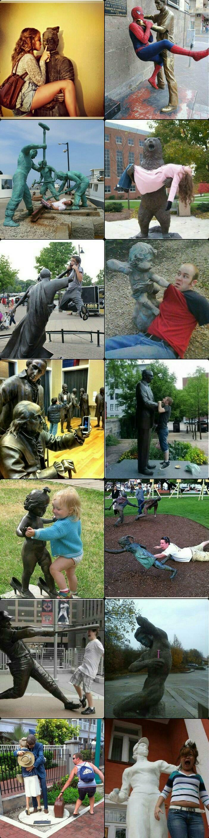동상과 유쾌한 사진 찍는 법