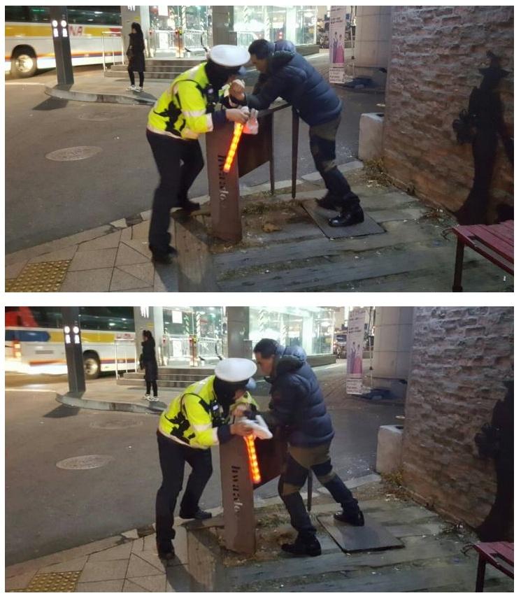 무력 충돌중 공권력에 당하는 시민