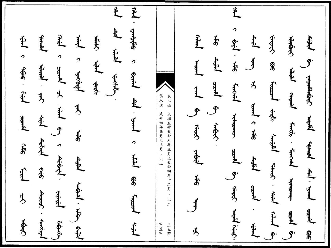 만주어 만문노당 167부-사르후 전투(6) 군을 셋으..