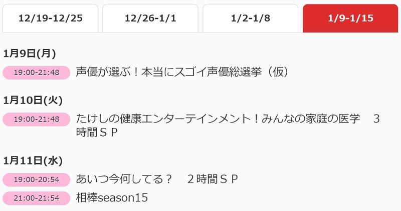 TV 아사히, 2017년 1월 9일에 약 3시간 짜리 성우 프..