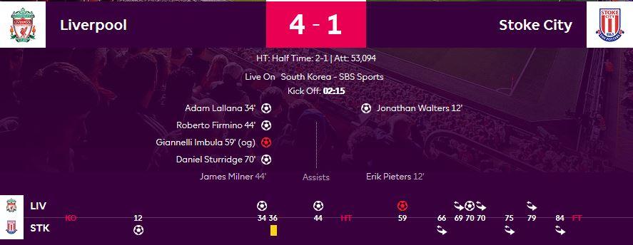 2016/17 EPL 18R 리버풀 vs 스토크시티