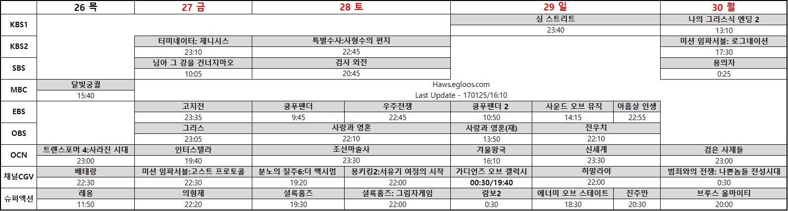 2017 설날특선영화 편성표