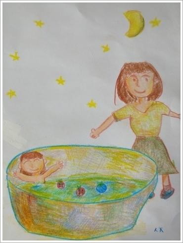 목욕하는 엄마와 아기
