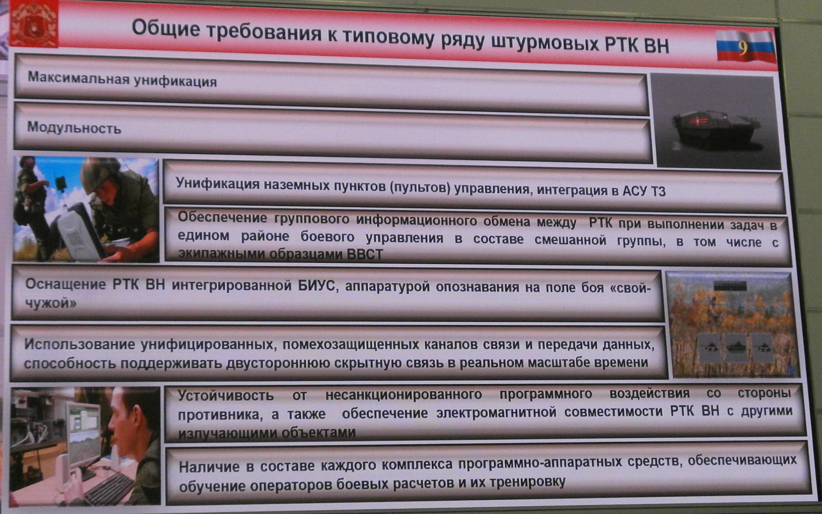 돌격형무인병기(Sh RTK VN)에 요구되는 사항