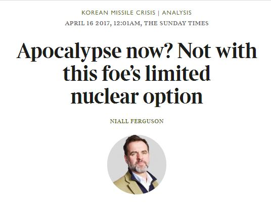 니얼 퍼거슨, 제2차 한국전쟁 가능성에 대해서..