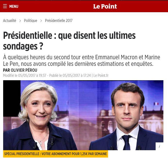 [프랑스]마크롱이 마린 르펜과 격차를 벌리다.