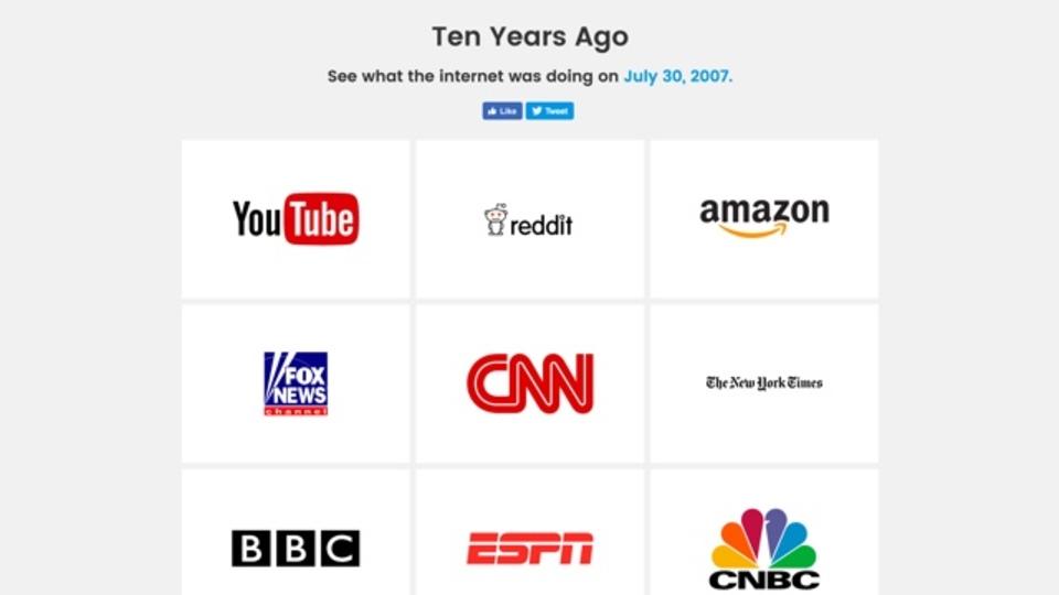 애플이나 유튜브의 10년 전 모습을 볼 수 있는 사이트..