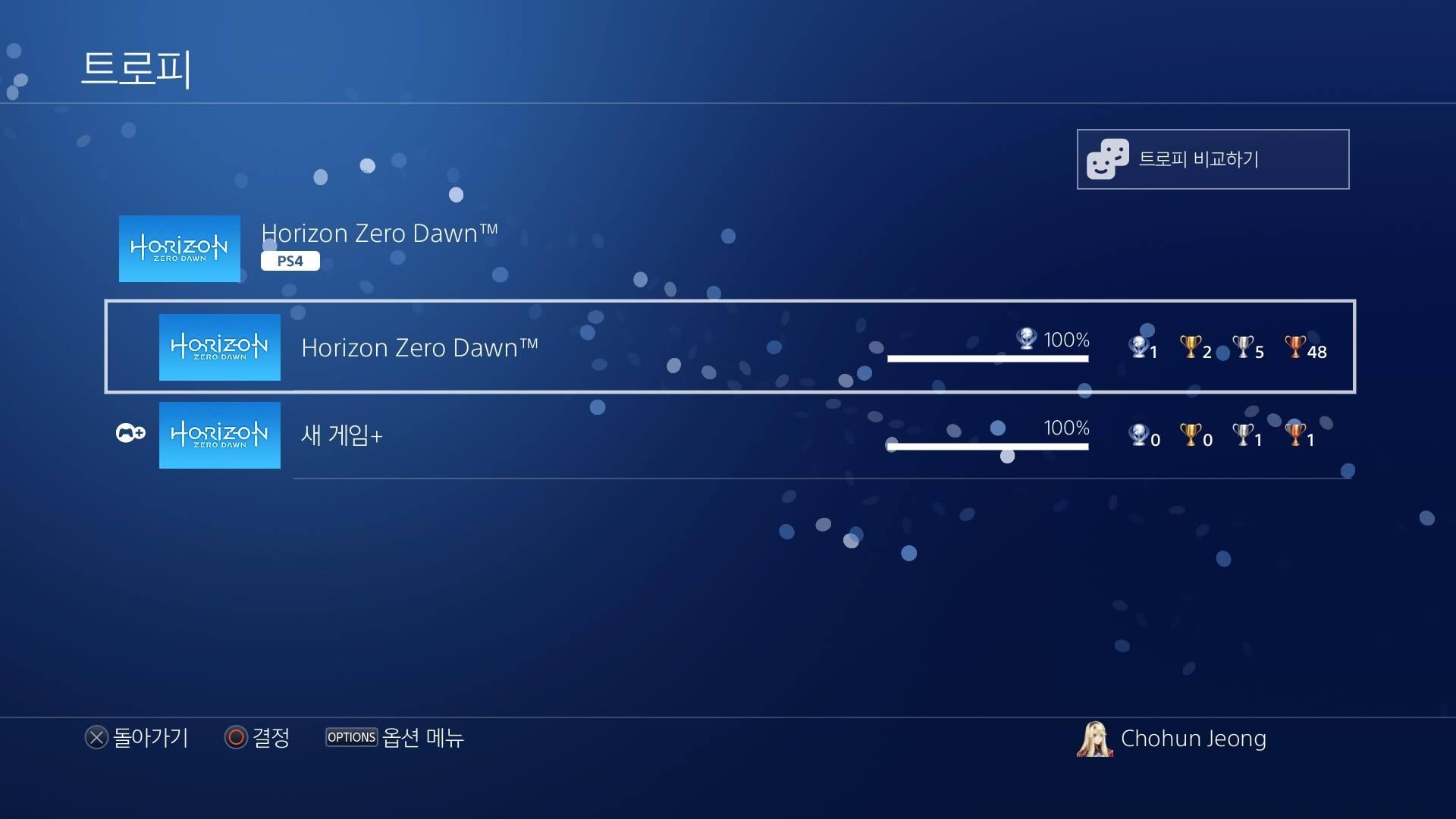 PS4 - 호라이즌 제로 던 올 트로피 획득
