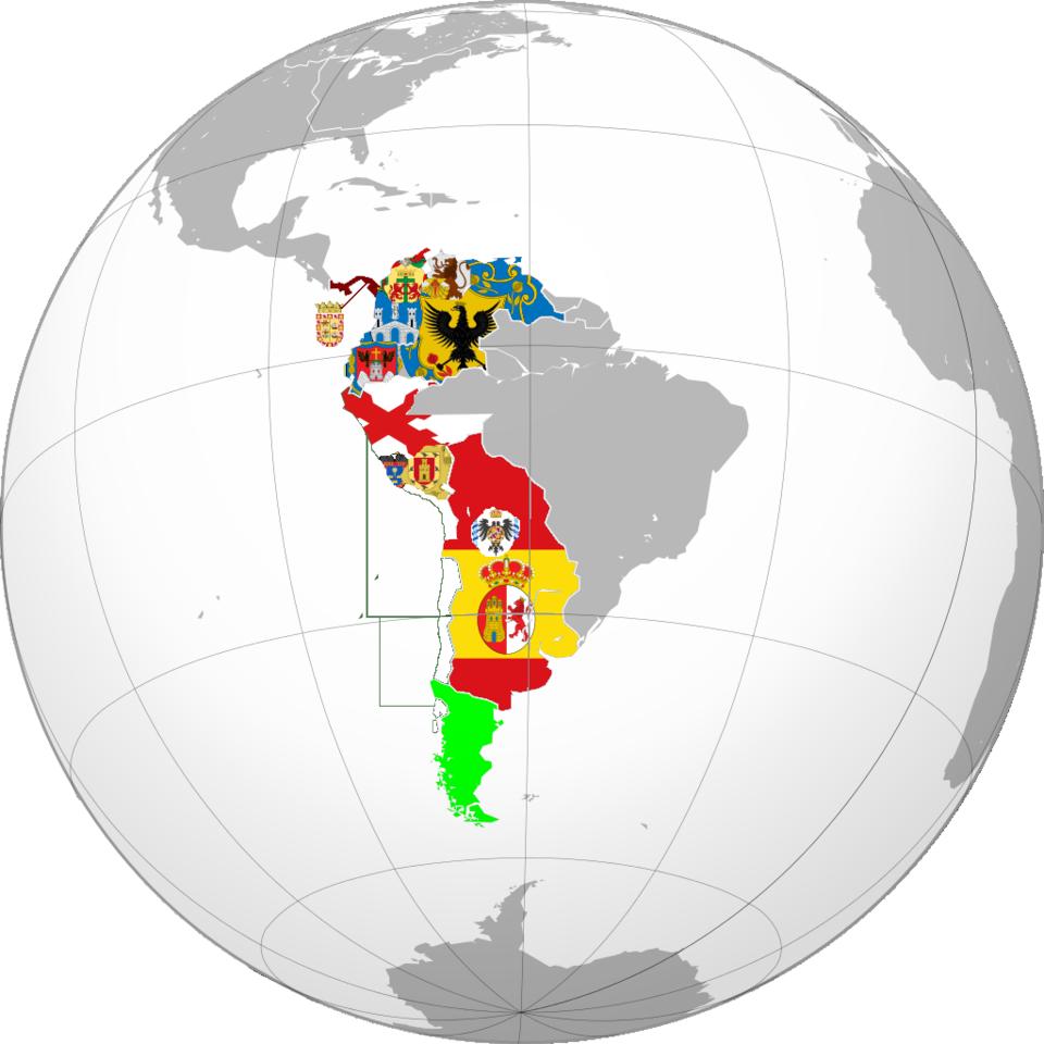 스페인 제국의 식민지들의 문장지도 Map of coat of ..