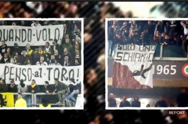 토리노 팬들은 데르비 때 유베 관계자의 토리노 홈 ..