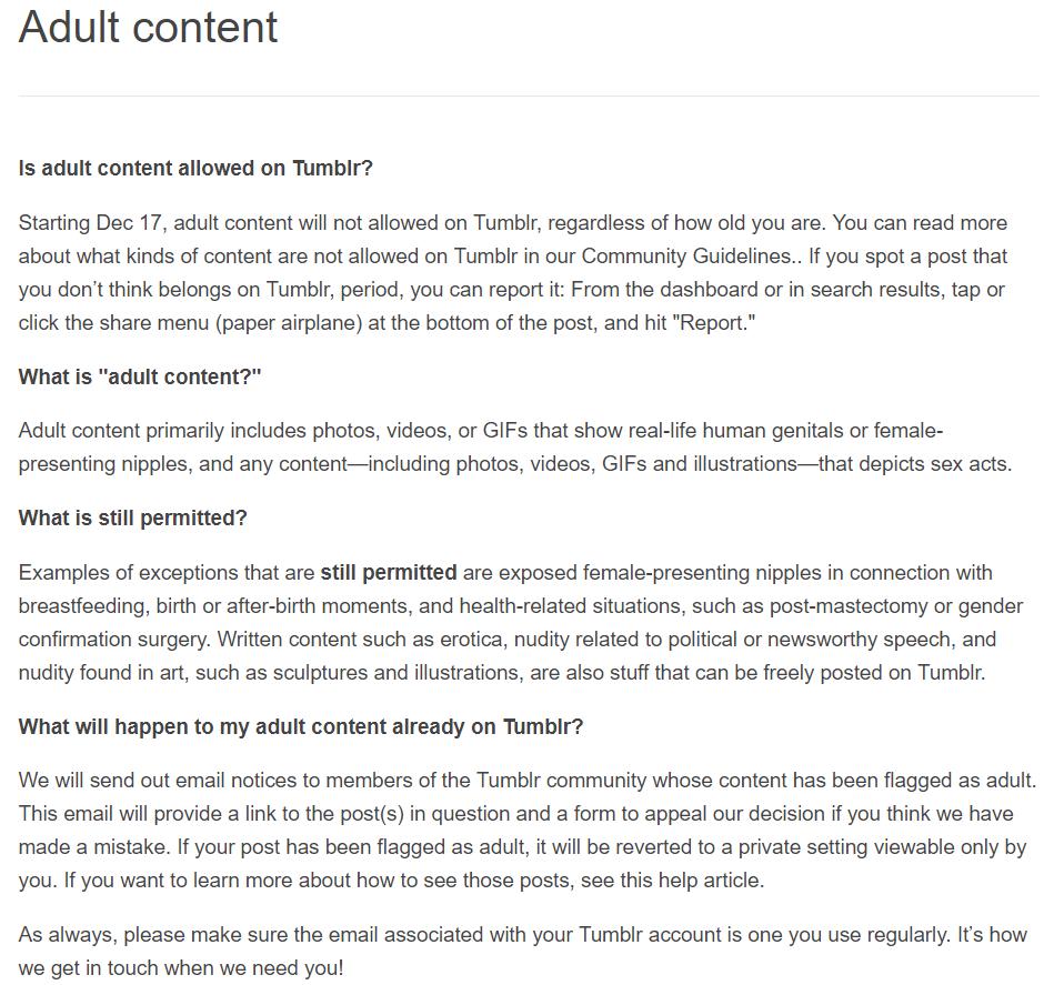 텀블러에서 앞으로 성인 지향 콘텐츠를 전면 금지..