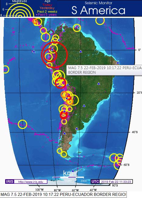 페루-에콰도르 접경 지역 규모 7.5 지진